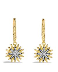 David Yurman | Yellow Starburst Drop Earrings With Diamonds In Gold | Lyst