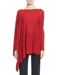 Donna Karan | Red Donna Karan Collection Featherweight Cashmere Poncho Top | Lyst