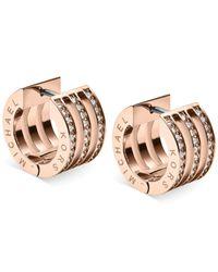 Michael Kors | Metallic Clear Crystal Open Huggie Earrings | Lyst