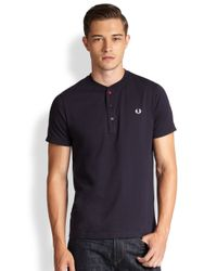Fred Perry - Blue Henley Tee for Men - Lyst