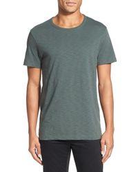 Vince   Green Slub Cotton Crewneck T-shirt for Men   Lyst
