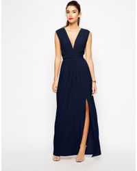 053aee0513 Lyst - Love Plunge Neck Maxi Dress With Wrap Belt in Blue