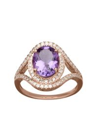 Lord & Taylor | Pink 14k Rose Gold Amethyst And Diamond Ring | Lyst