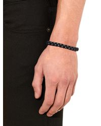 Bottega Veneta - Black Oxidised-Silver And Woven Leather Bracelet for Men - Lyst