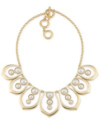 Carolee | Metallic Gold-tone Imitation Pearl Collar Necklace | Lyst