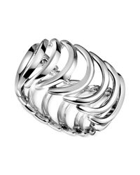Calvin Klein | Metallic Stainless Steel Curved Link Ring | Lyst