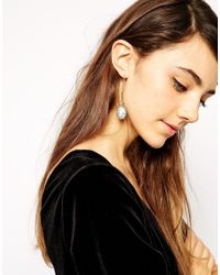 ASOS - Gray Cameo Drop Earrings - Lyst