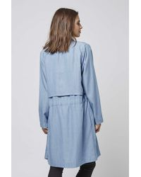 TOPSHOP | Blue Denim Waterfall Coat By Goldie | Lyst