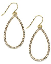 Lauren by Ralph Lauren - Metallic Gold-Tone Crystal Pave Open Teardrop Earrings - Lyst