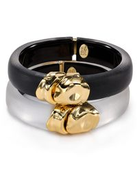 Alexis Bittar | Black Lucite Liquid Metal Capped Bangle | Lyst