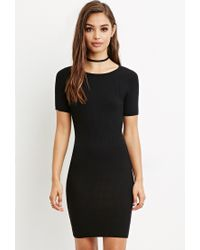 Forever 21   Black Ribbed Knit Bodycon Dress   Lyst