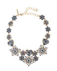 Oscar de la Renta - Blue Navy Swarovski Crystal Pavé Hearts & Stars Necklace - Lyst