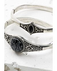 Forever 21 - Metallic Faux Stone Hinge Bracelet Set - Lyst