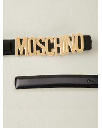 Boutique Moschino - Black Skinny Logo Plaque Belt - Lyst