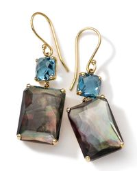 Ippolita - Metallic 18k Gold Rock Candy Gelato Topaz & Black Shell Earrings - Lyst