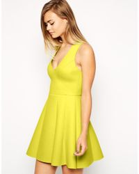 Lyst - Asos Bonded Raw Edge Lime Skater Dress in Green 1aaa3785c