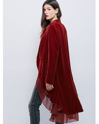 Free People - Red Swingy Velvet Jacket - Lyst