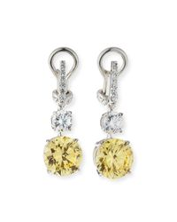 Fantasia by Deserio | Metallic Canary/clear Cubic Zirconia Drop Earrings | Lyst