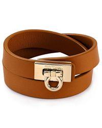 Ferragamo | Brown Gancini Double Wrap Leather Bracelet | Lyst