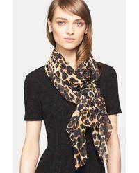 St. John - Multicolor Leopard Print Silk Georgette Scarf - Lyst