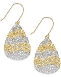 Macy's - Metallic Two-tone Laser-cut Dangle Earrings In 10k Gold - Lyst