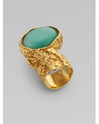 Saint Laurent - Blue Goldtone Arty Ovale Ring - Lyst