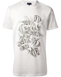 Lanvin | White Fish Printed Tshirt for Men | Lyst