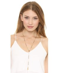 Chan Luu - Metallic Beaded Lariat Leaf Necklace  Labradorite - Lyst