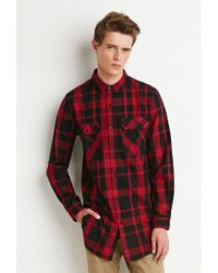 Forever 21 | Red Longline Plaid Shirt for Men | Lyst