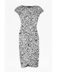 French Connection - Gray Leo Jacquard Jersey Print Dress - Lyst