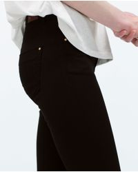 Zara | Black Skinny Peach Finish Trousers | Lyst