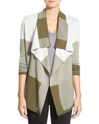 Chaus | Green Drape Front Jacquard Cardigan | Lyst