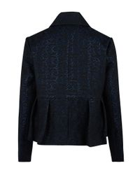Edit - Blue Navy Short Peplum Jacquard Jacket - Lyst