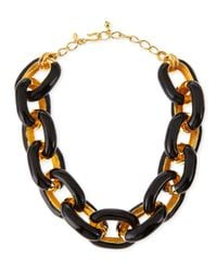 Kenneth Jay Lane | Metallic Black Enamel & Gold-plated Link Necklace | Lyst