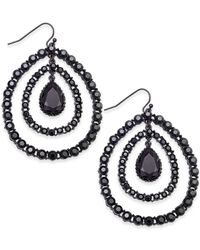 INC International Concepts | Black Hematite-tone Crystal Orbital Drop Earrings, Only At Macy's | Lyst