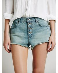 Free People | Blue Womens Buttonfront Cutoffs | Lyst