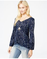 Lucky Brand | Blue Lucky Brand Printed Button-down Peasant Top | Lyst