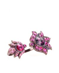 Lanvin - Purple Crystalembellished Ring - Lyst