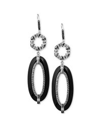 Judith Jack - Metallic Sterling Silver Marcasite 415 Ct Tw Onyx 48710 Ct Tw and Cubic Zirconia 310 Ct Tw Double Drop Earrings - Lyst