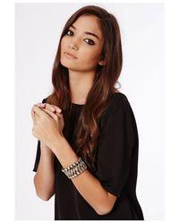 Missguided | Metallic Hazel Crystal Detail Woven Bracelet Gold | Lyst