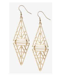 Express - Metallic Cut-Out Double Triangle Dangle Earrings - Lyst