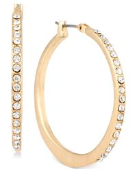 Kenneth Cole | Metallic Gold-tone Pavé Hoop Earrings | Lyst