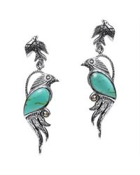 Aeravida | Blue Mythical Phoenix Bird Turquoise Wing Marcasite .925 Silver Earrings | Lyst