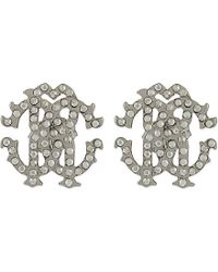 Roberto Cavalli - Metallic Crystal Studded Logo Stud Earrings - Lyst