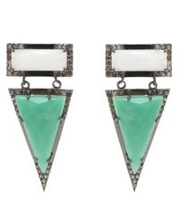 Adornia - Green Chrysoprase, White Agate, And Champagne Diamond Wooster Earrings - Lyst
