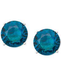 Anne Klein | Gold-tone Blue Round Stone Stud Earrings | Lyst
