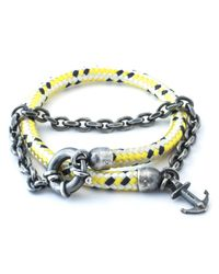 Anchor & Crew - Yellow Dash Barmouth Rope Bracelet for Men - Lyst