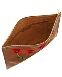 Stella McCartney - Brown Botanical Embroidered Faux-leather Pouch Bag - Lyst