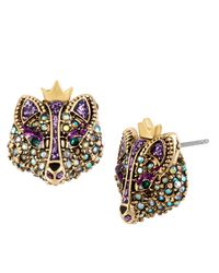 Betsey Johnson | Purple Crystallized Fox Stud Earrings | Lyst