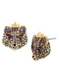 Betsey Johnson | Purple Crystallized Fox Stud Earrings | Lyst